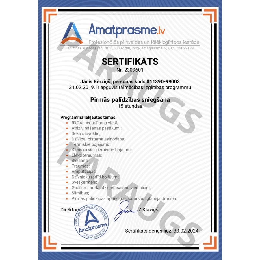 Pirma palidziba sertifikats