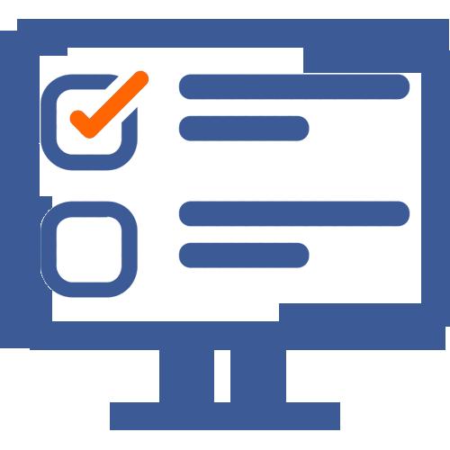 Online mācības un tests ikona